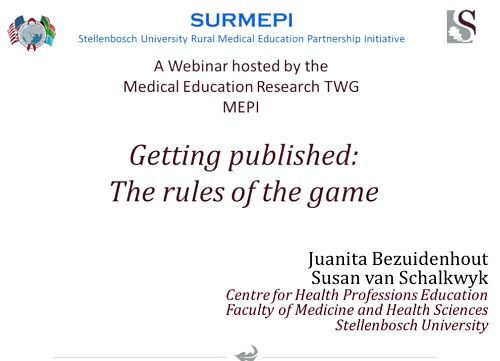 "MEPI Network Webinar Series: May 2014 ""Getting Published: The Rules of the Game"""