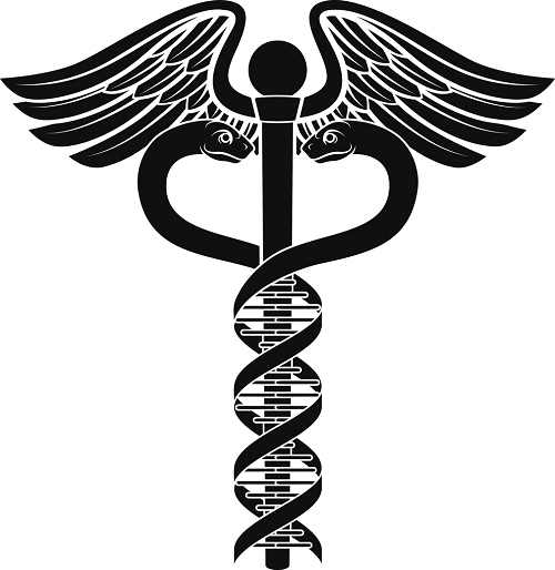 Caduceus with DNA helix Staff