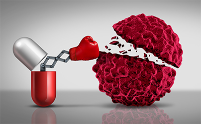 Cancer drug knocking out a cancer cell