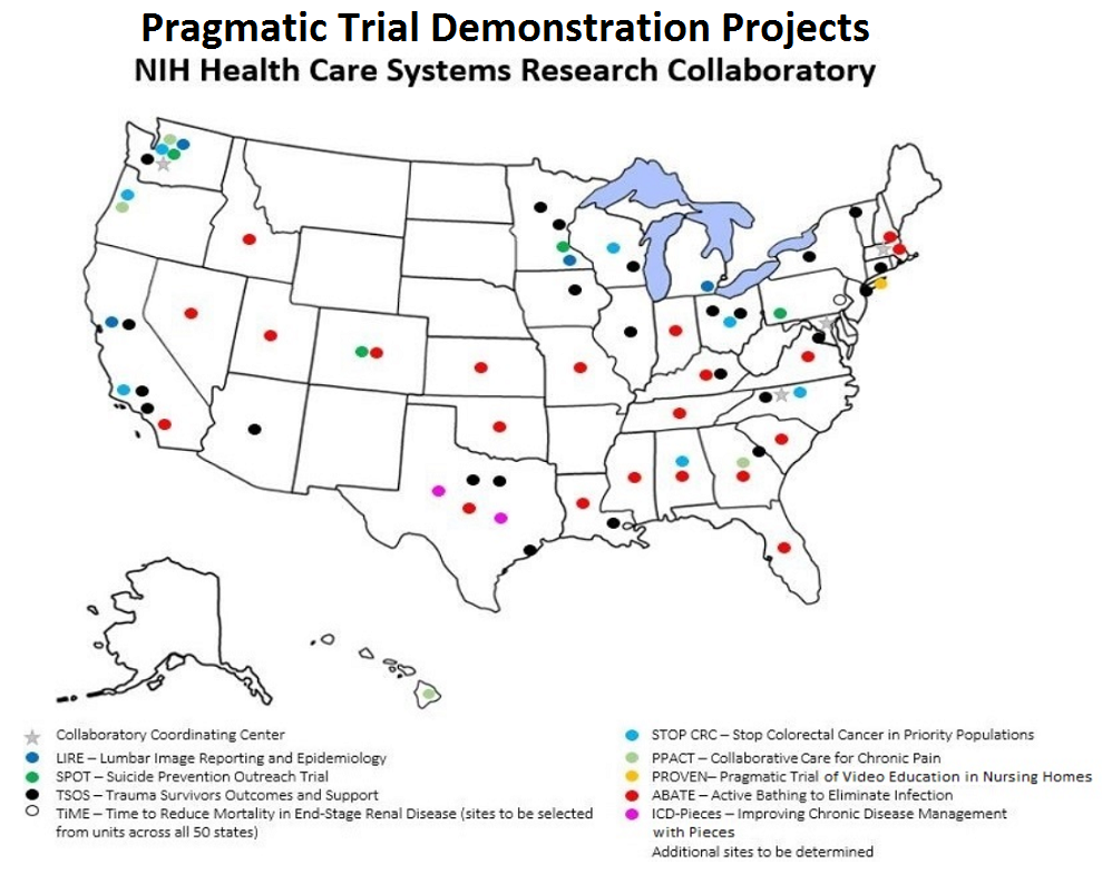 United States Map Showing Locations of Pragmatic Clinical Trial Demonstration Projects