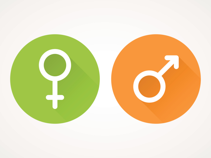female and male sex symbols