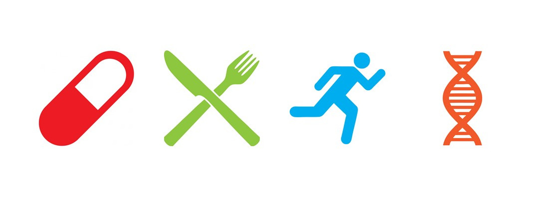Icons of pill, utensils, running, and DNA