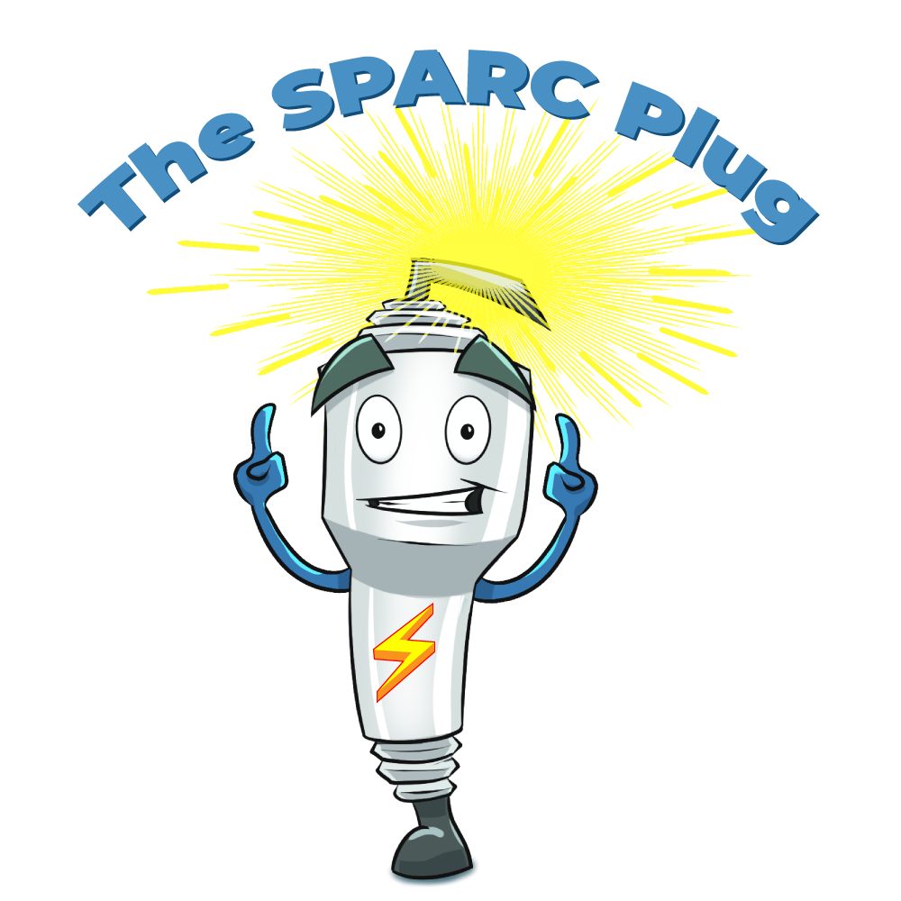 "cartoon of spark plug pointing to text ""The SPARC Plug"""