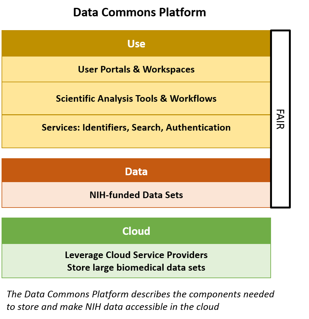 Schematic of Data commons Platform with NIH-funded datasets and the tools/services necessary to make them Findable, Accessible, Interoperable, and Reusable or FAIR; all resting on top of a cloud-based infrastructure