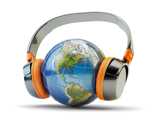 Globe listening to headphones