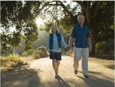 Mature couple walking down road