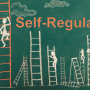 Chalkboard figures climbing ladders with the words Self-regulation