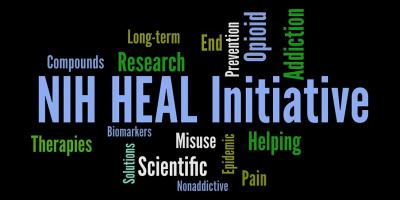 "An image that displays the words ""NIH Heal Initiative"" in the center. It then has the words compounds, long-term research, end, prevention, opioid, addiction, therapies, biomarkers, solutions, scientific, misuse, nonaddictive, epidemic, helping, and pain."