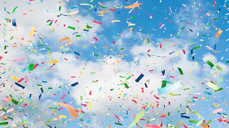 Colorful confetti in the sky