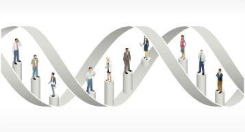 DNA with people standing on connectors