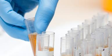 Test tube being selected by hand in blue glove