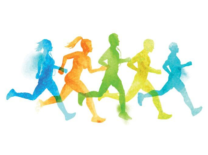 Running group of people