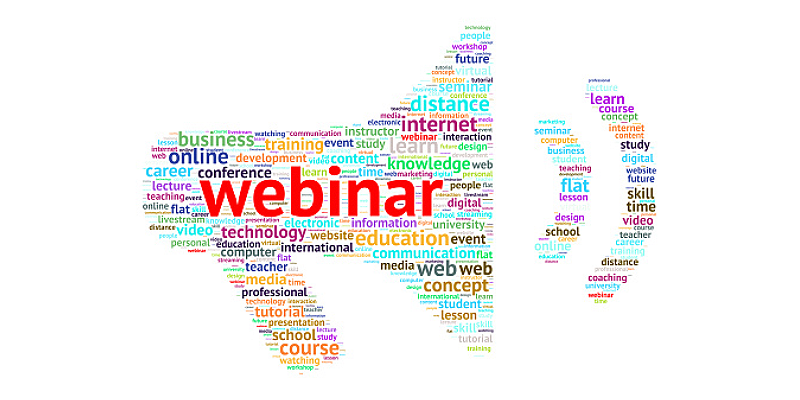 Megaphone shaped word cloud with Webinar as the most prominent word