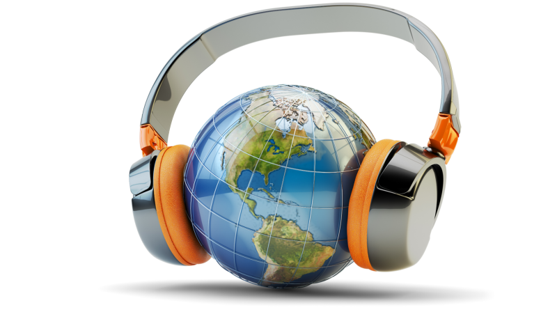World listening to headphones