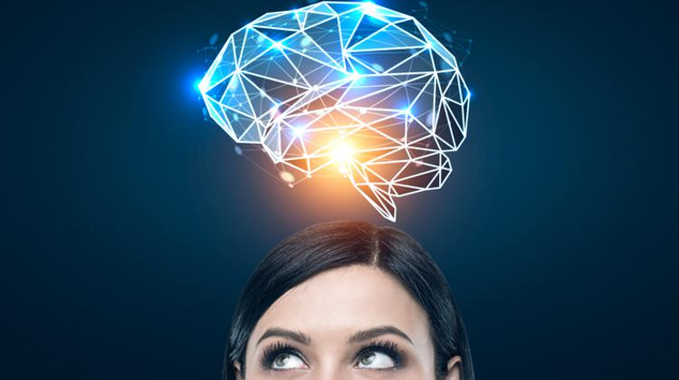 black haired woman and a blue brain hologram