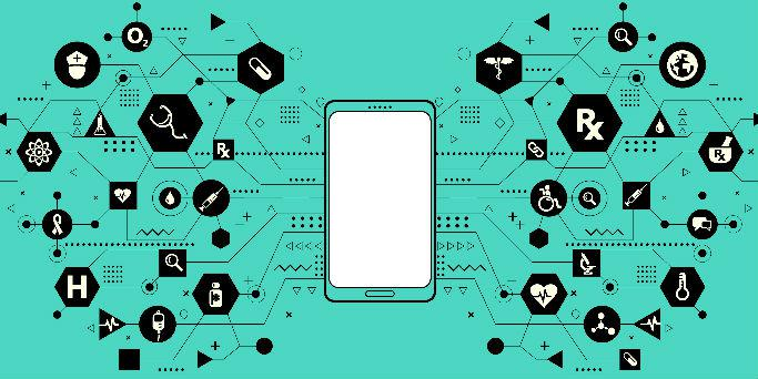 An image of a smart phone connecting abstract images that represent health.