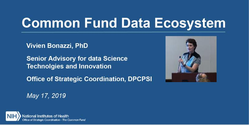 Vivien Bonazzi title slide for presentation at may council of councils on common fund data ecosystem