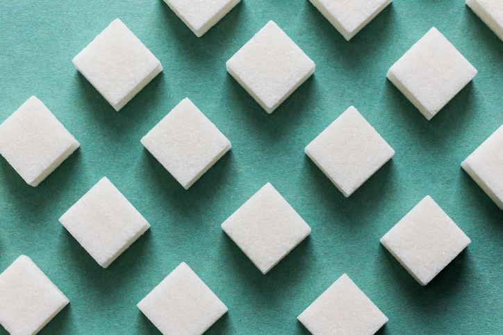 sugar cubes aligned in rows